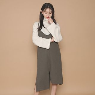 Slit-Hem Midi Pinafore Dress 1054991725