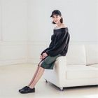 Zip-Front Fray-Edge Midi Pencil Skirt 1596