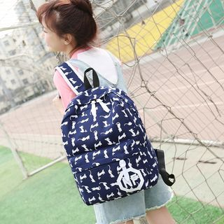 Applique Printed Canvas Backpack