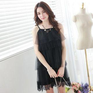 Sleeveless Spaghetti-Strap Layered A-Line Dress 1050626968