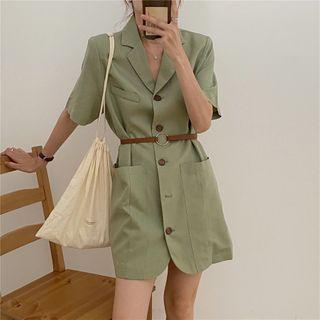 Image of Short-Sleeve Single Breasted Tie-Waist Coat Dress