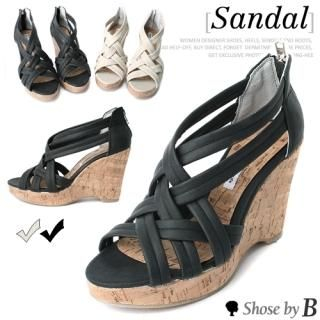 Buy Shoes by B Crossed Strappy Wedge Sandals 1023041306