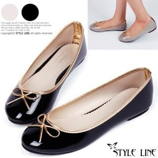 Picture of STYLE LINE Bow-Accent Patent Flats 1023017313 (Flat Shoes, STYLE LINE Shoes, Korea Shoes, Womens Shoes, Womens Flat Shoes)