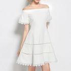 Off-Shoulder Short-Sleeve A-Line Dress 1596
