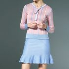 Set: Striped Sweater + Ruffle Hem Mini Skirt 1596
