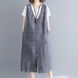 Buttoned Midi Pinafore Dress 1067663385
