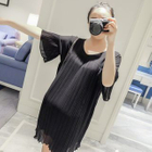 Pleated Chiffon Maternity Dress 1596