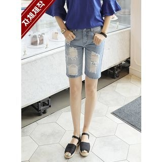 Distressed Washed Denim Shorts 1060265809
