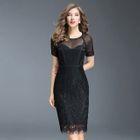 Short-Sleeve Paneled Lace Dress 1596