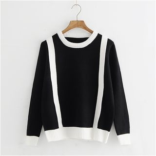 Long-Sleeve Contrast-Trim Knit Top 1062504220
