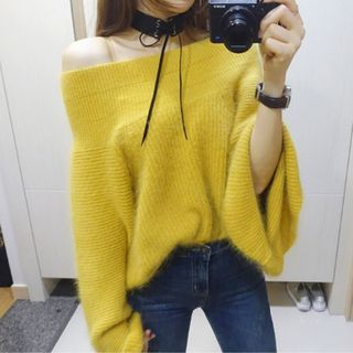 Plain Off-Shoulder Sweater