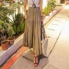 Band-Waist Tiered Long Skirt 1596