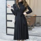 Long-Sleeve Tie-Waist Knit Dress 1596