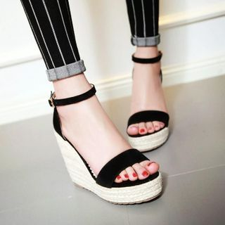 Image of Ankle-Strap Wedge-Heel Espadrille Sandals