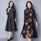 Floral Print Mandarin Collar 3/4 Sleeve Dress 1596