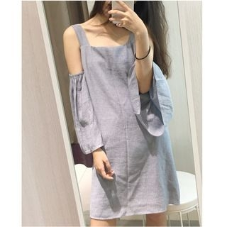 Cutout Shoulder Bell-Sleeve Dress 1053818541