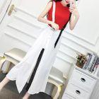 Set: Plain Tank Top + Suspender Midi Chiffon Skirt 1596
