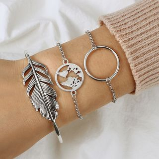 Bracelet | Bangle | Silver | World | Hoop | Leaf | Size | One | Set