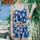 Set : Floral Print Tankini + Swim Shorts 1596