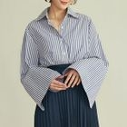Pinstripe Loose-fit Long-Sleeve Blouse 1596