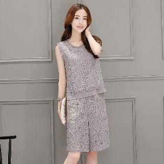Set: Sleeveless Lace Top + Lace Shorts 1050722981