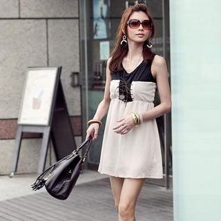 Buy PUFFY Two-Tone Chiffon Dress Apricot – One Size 1022940155