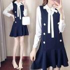 Set: Long-Sleeve Ribbon-Neck Blouse + Sleeveless A-Line Mini Dress 1596