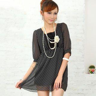 Buy doremi Lace-Up Dotted Chiffon Dress Black – One Size 1022868175