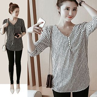 Elbow-Sleeve V-Neck Striped T-Shirt 1050142965
