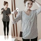 Elbow-Sleeve V-Neck Striped T-Shirt 1596