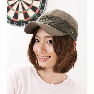 Picture of GRACE Rib-Knit Panel Casquette Khaki - One Size 1022238621 (GRACE, Mens Hats & Scarves, Japan)