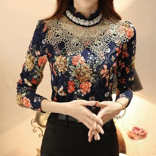 Image of Floral Print Lace Panel Blouse