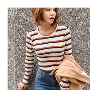 Striped Ribbed Knit Top 1062764219