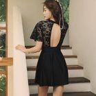 Lace Panel Short-Sleeve Swim Dress 1596