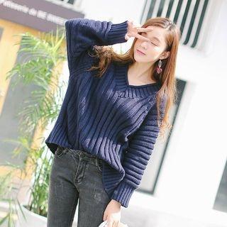 V-Neck Ribbed Sweater 1056067151