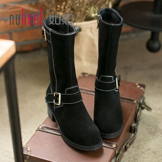 Genuine Suede Buckled Tall Boots