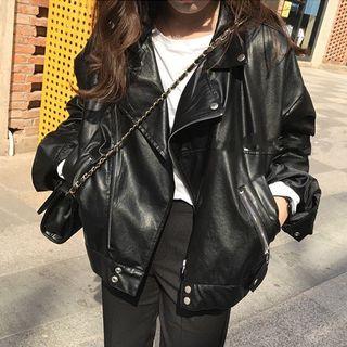 Boxy Faux Leather Jacket 1058169528