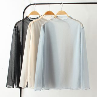 Image of Long-Sleeve Mock Neck See Through Top