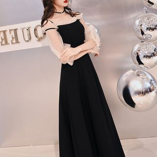 Image of 3/4-Sleeve Cold Shoulder A-Line Evening Gown