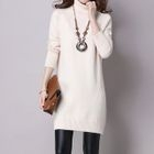 Turtleneck Long-Sleeve Sweater Dress 1596