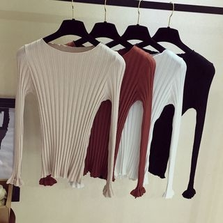 Ribbed Long-Sleeve Knit Sweater 1062522836