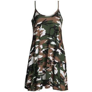 Spaghetti-Strap Camouflage-Print A-Line Dress 1053954769