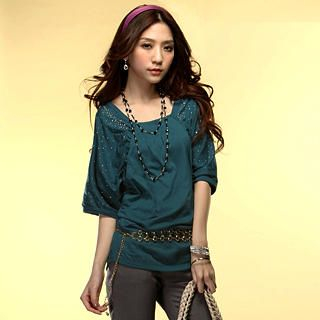 Buy Tokyo Fashion Ruched-Sleeve Rhinestone Long Top 1022550603
