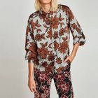 Long-Sleeved Floral Print Open-Front Blouse 1596