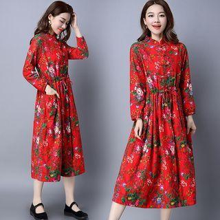 Mandarin Collar Floral Print Midi Dress 1055479875