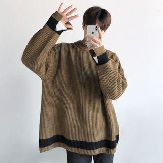 Image of Contrast Trim Oversize Sweater