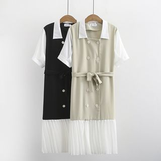 Image of Double-Breasted Contrast Trim Short-Sleeve Shirt Dress