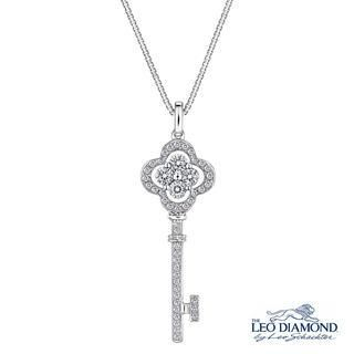 "Preface To Love Collection - 18K White Gold Diamond Key To My Heart in Clover-Shaped Pendant Necklace (16"")"
