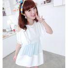 Cutout Shoulder Chiffon Panel Ruffled Dress White - One Size 1596