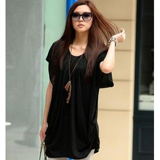 Pleated TShirt Dress Black  One Size